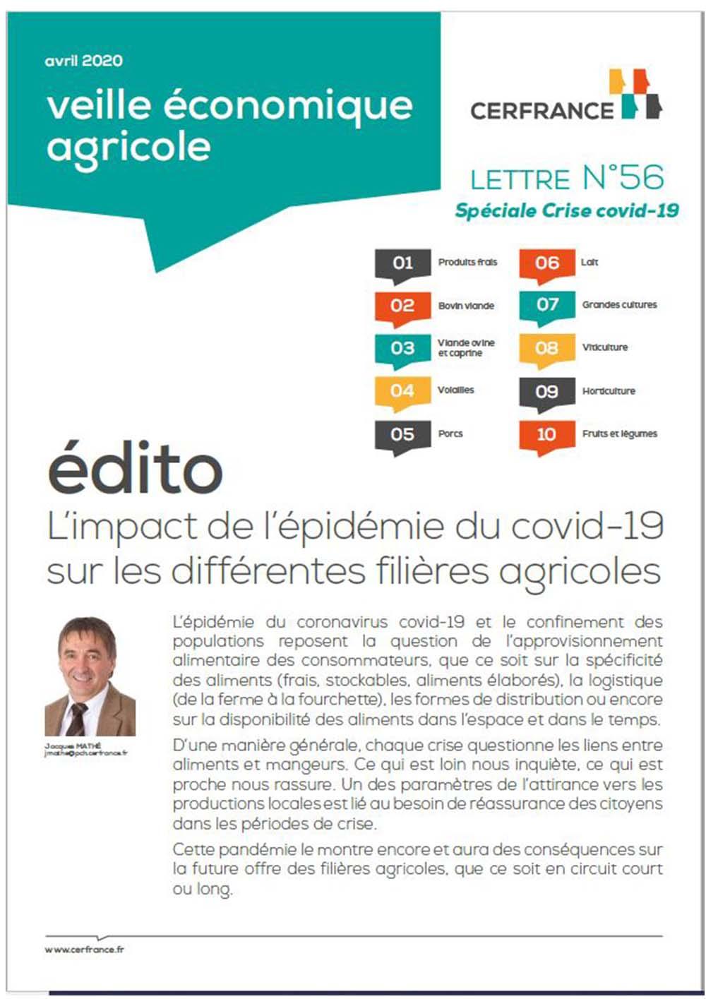 Lettre sur l'impact de l'épidémie du covid-19 sur les différentes filières agricoles
